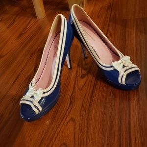 Pink and blue heels open toe.